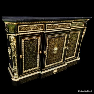 Impressive french credenza Stamped L. Winterniiz with Brown tortoisehell in marquetry Boulle 19th