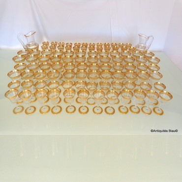48 glasses,1 decanter, 1 candelstick in crystal St - Louis  Thistle gold