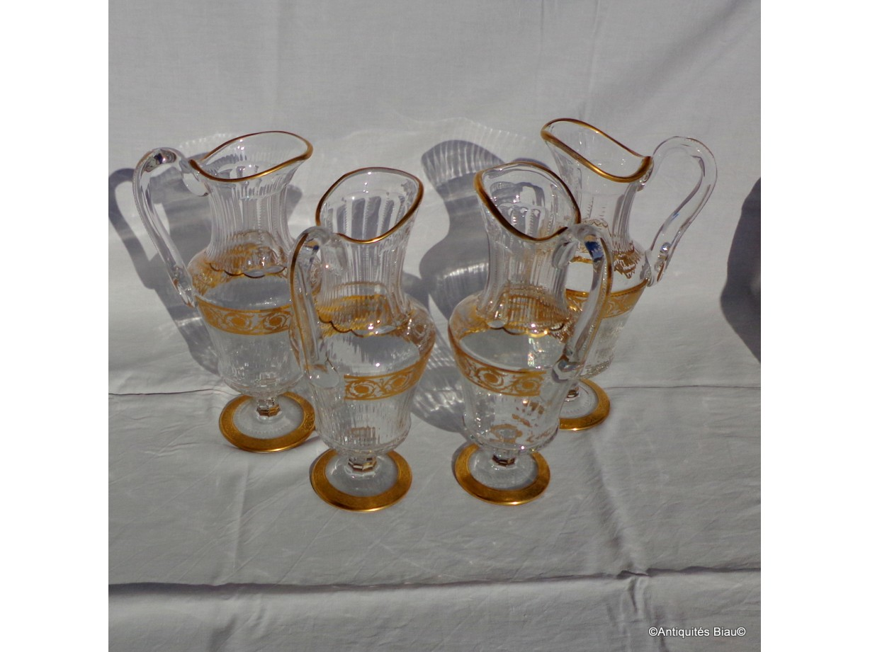 Decanter in crystal St - Louis  Thistle gold