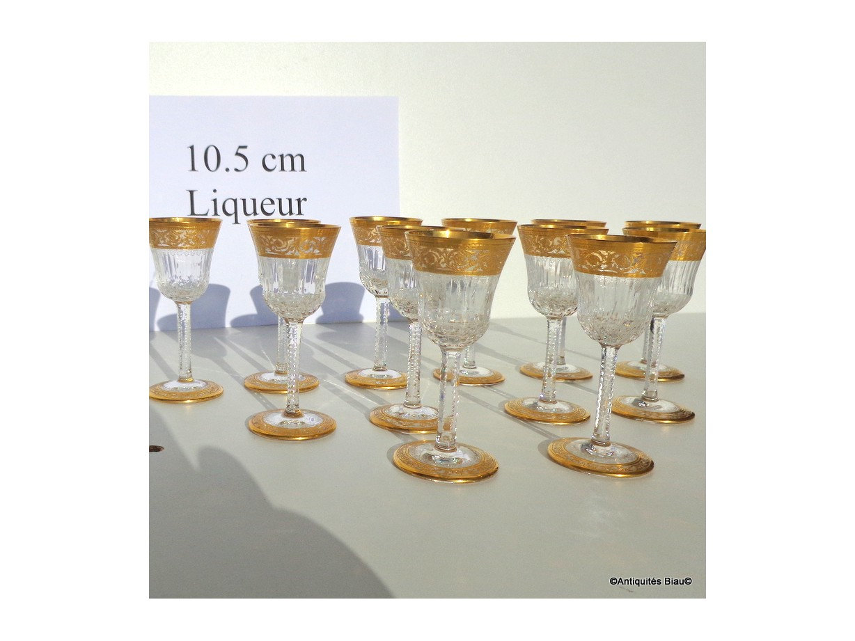 Glasses liquor in crystal St-Louis - Thistle gold