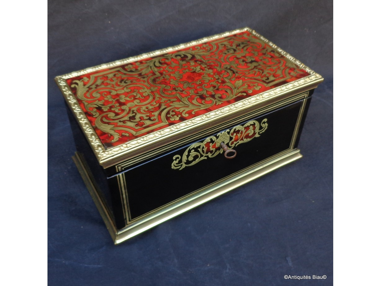 Tea Box in Boulle marquetry Napoleon III period 19th