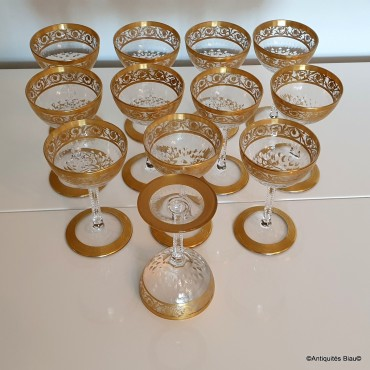 Glasses Port in crystal St-Louis - Thistle gold