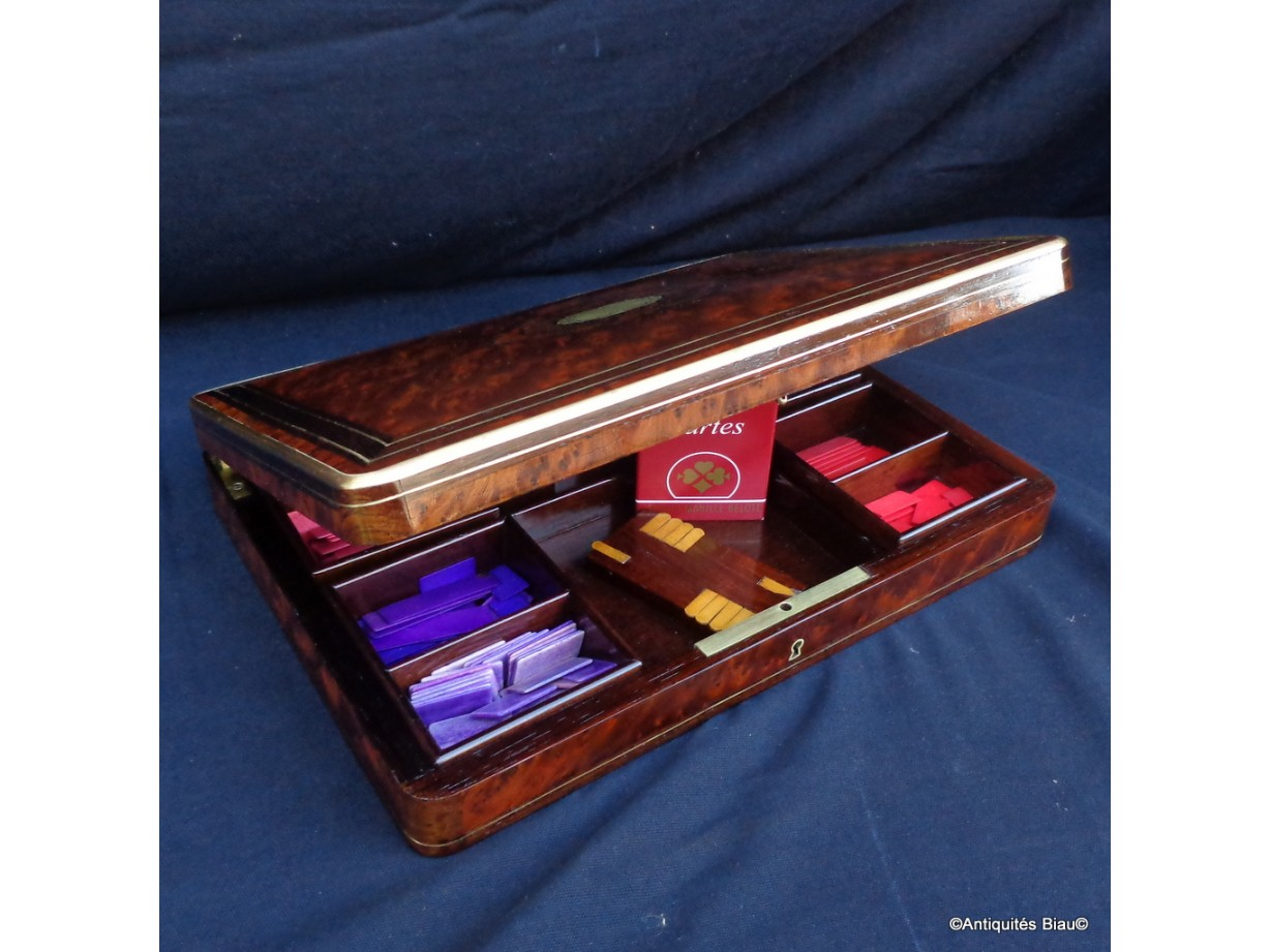 Game Box  in Boulle marquetry Napoleon III period 19th