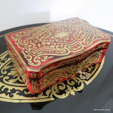 BERTHET Jewelry Box in Boulle marquetry Napoleon III period 19th