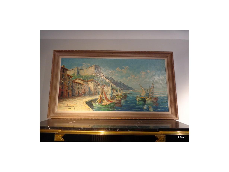"""Huile sur toile """"scène de port"""" signée en bas à droite"""