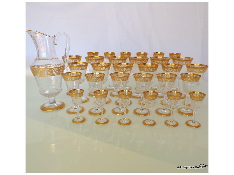 St Louis Thistle Or Cristal Service 30 verres, 1 broc