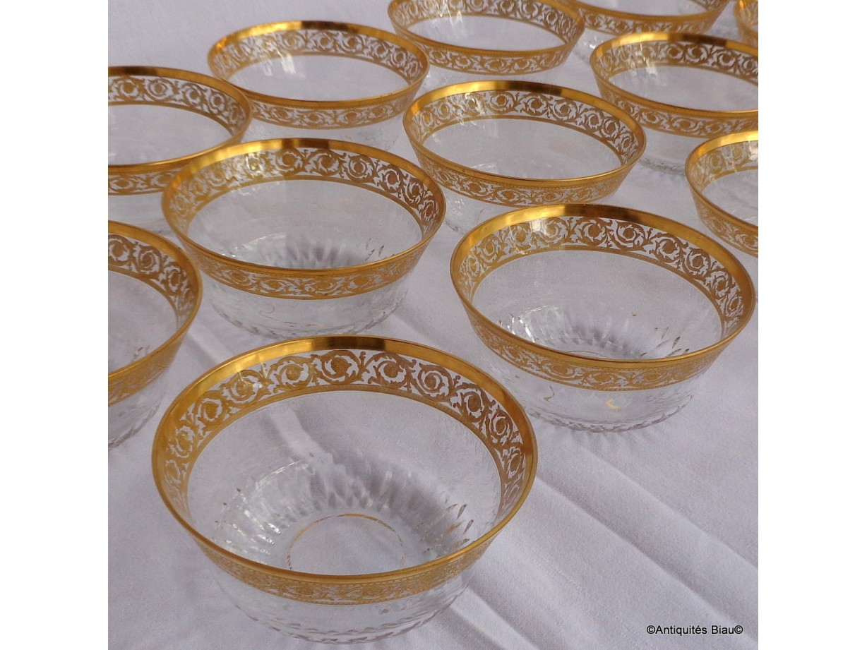 Bowl in crystal St - Louis  Thistle gold