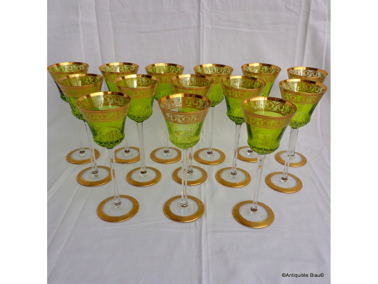 Glass Roemer chartreuse in crystal St-Louis - Thistle gold