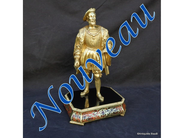 Bronze François 1er sur socle en marqueterie Boulle  Epoque Napoléon III