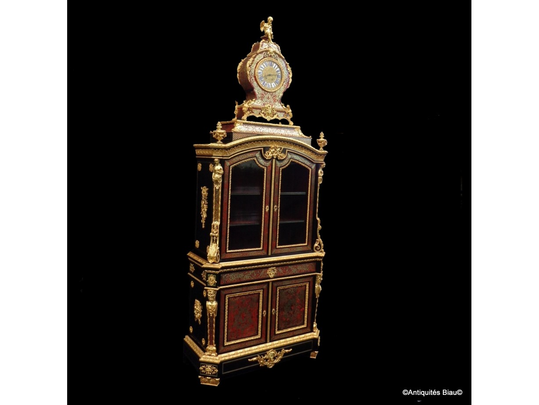 Buffet secrétaire 2 corps surmonté d'une horloge époque Napoléon III