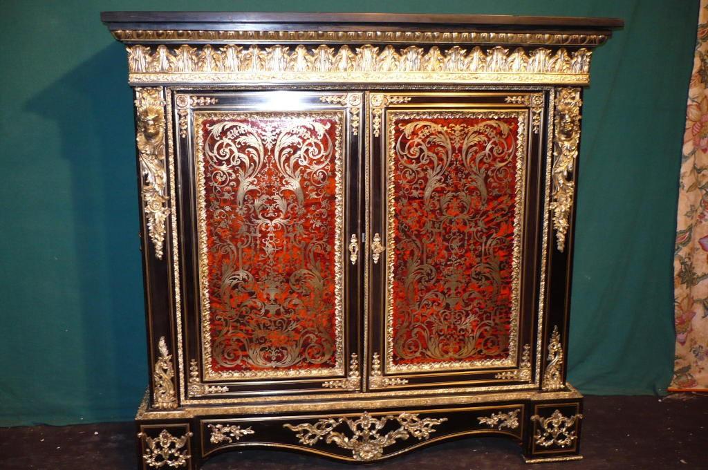 meuble dappui droit 2 portes en marqueterie boulle epoque napolon iii